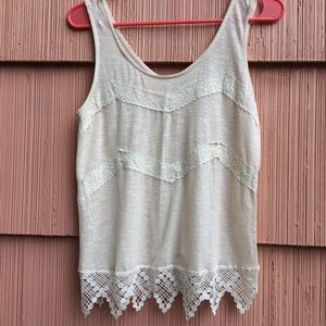 Beautiful lace trimmed monteau tank top